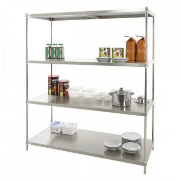 Stainless Steel Wire Mesh Wall Shelf with 5 Inch Castors